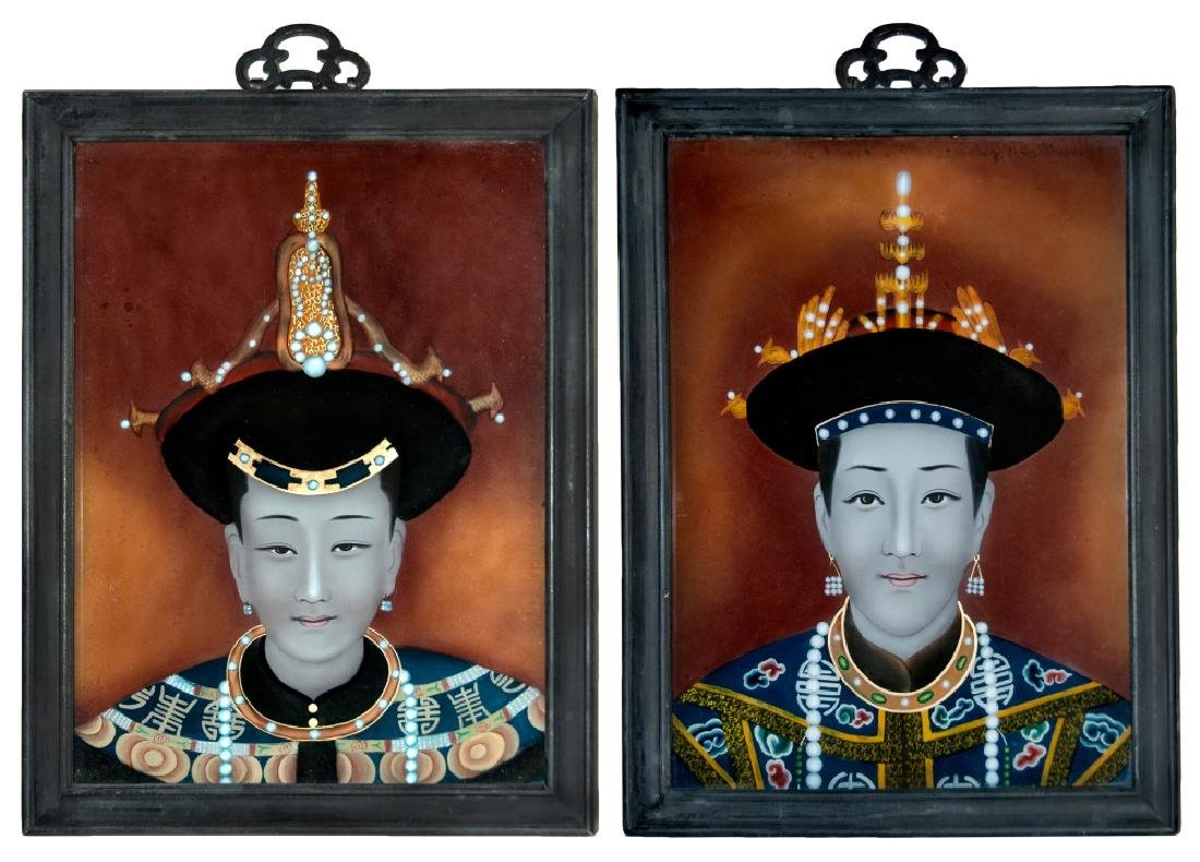 PAIR OF REVERSE PAINTED GLASS PORTRAITS
