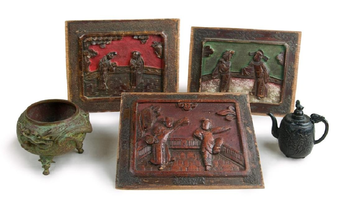 A GROUP, TEA POT, BRAISER, AND WOOD CARVED PANELS