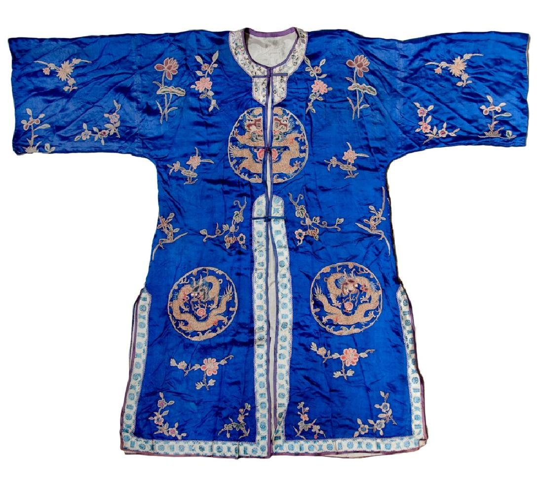 BLUE SILK GROUND DRAGON ROBE