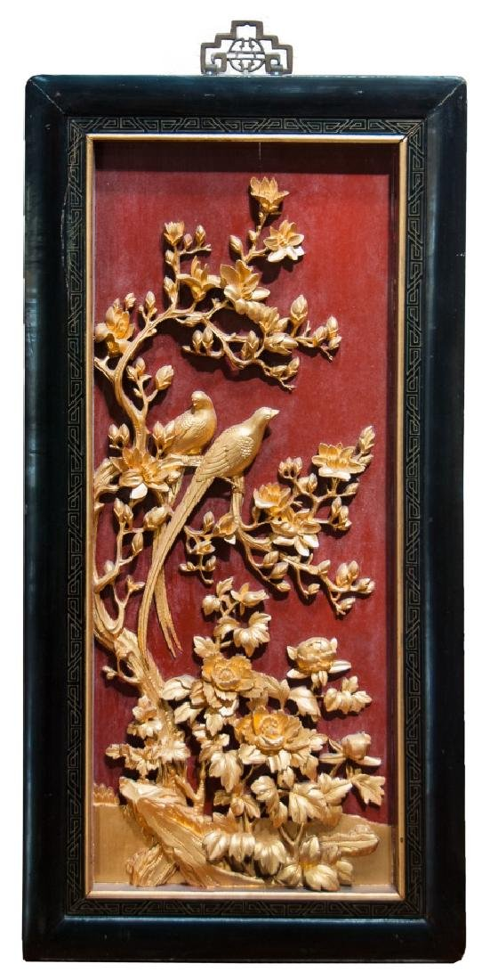 BIRDS AND FLOWERS GILT WOOD WALL HANGING