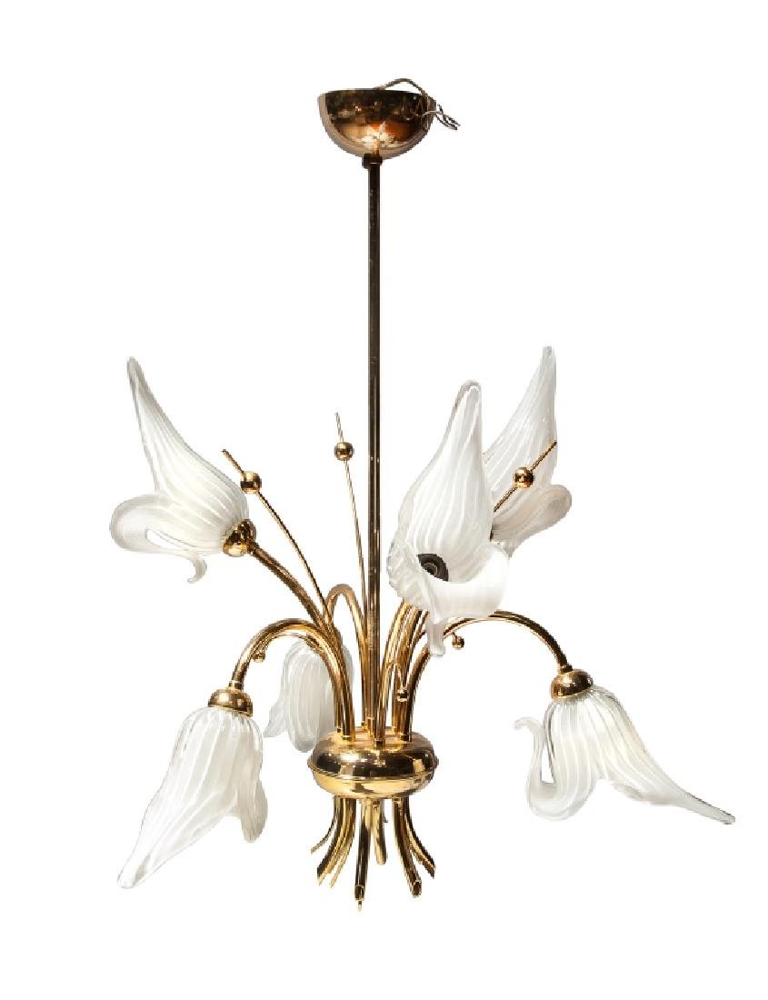 BLOWN GLASS LILY AND BRASS LIGHT FIXTURE