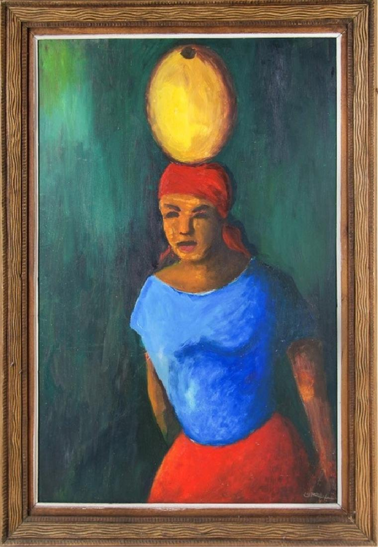 FRAMED PAINTING OF A WOMAN W/ JAR ON HEAD