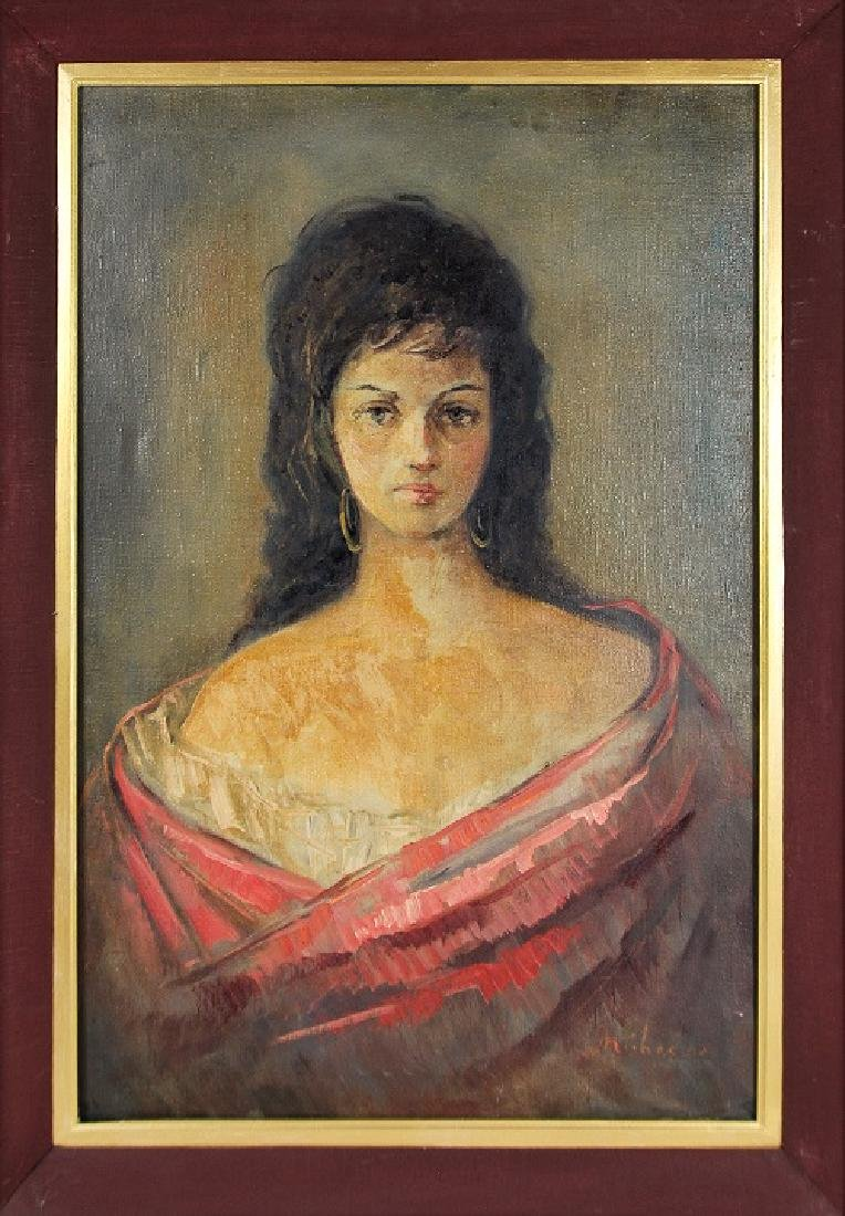 PAINTED BUST OF A WOMAN IN RED