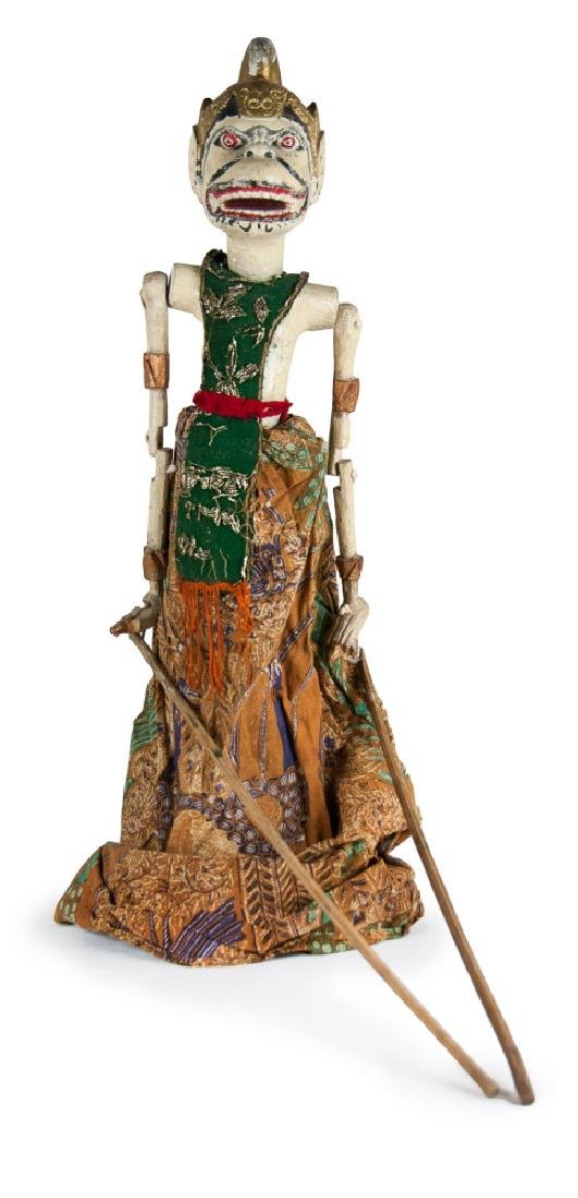 WOOD CARVED AND PAINTED WAYANG PUPPET