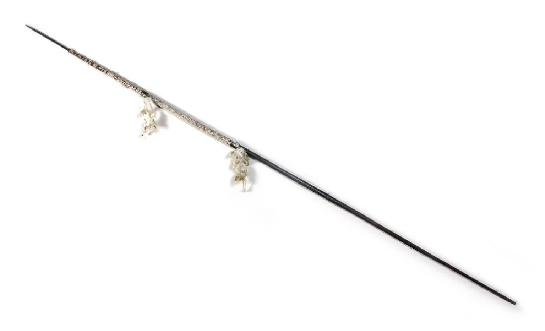 LARGE BLACK SPEAR WITH SHELL DECORATION