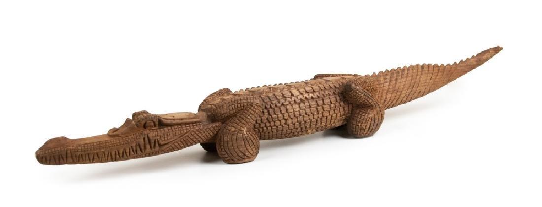 CARVED TAN  WOOD CROCODILE