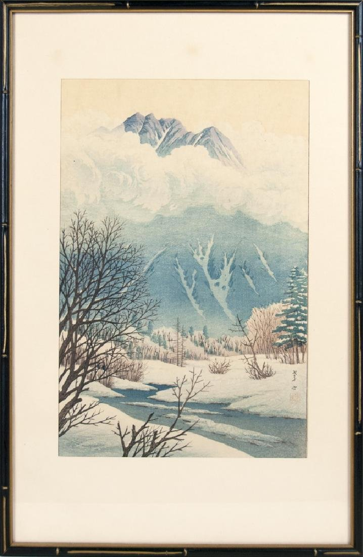 WOODBLOCK PRINT OF MOUNTAIN VIEW IN WINTER