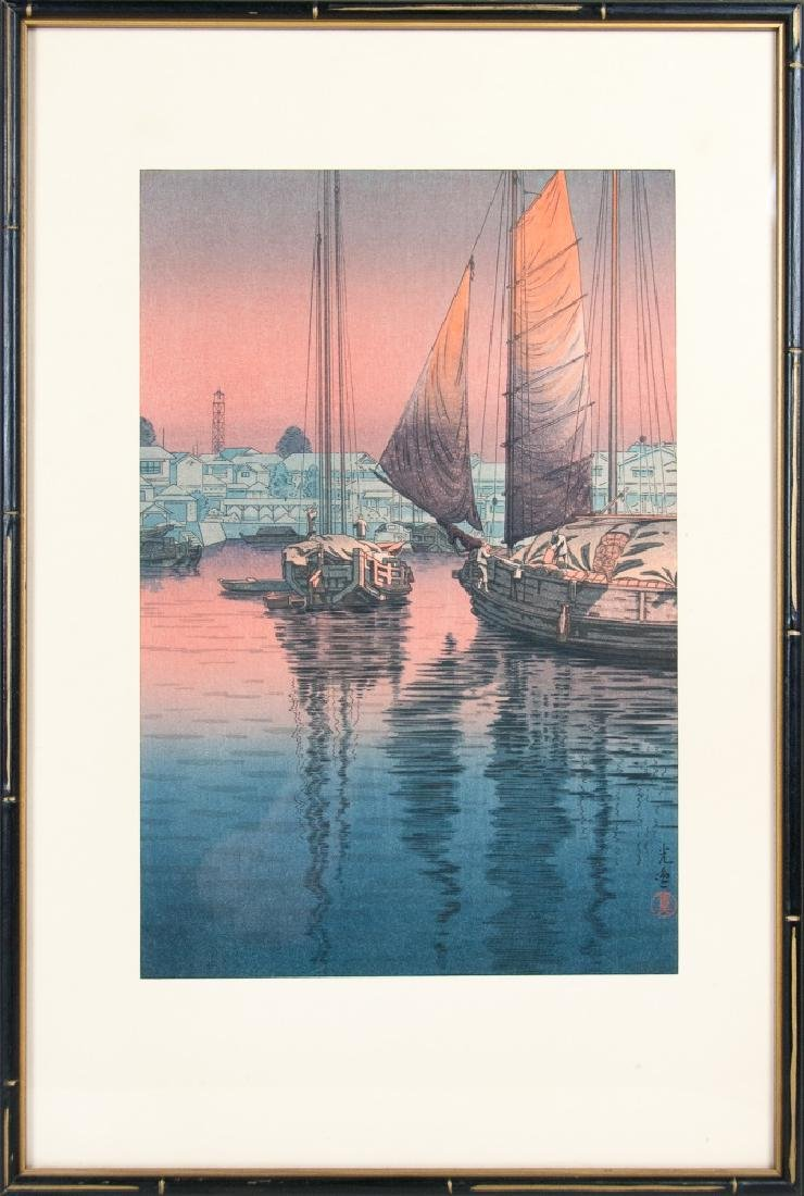 WOODBLOCK PRINT OF BOATS AT SUNSET
