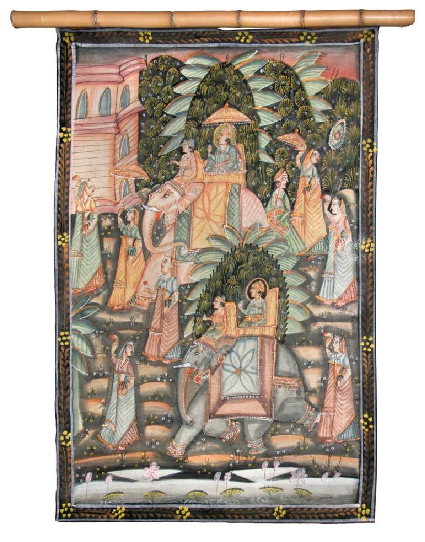 PAINTED FABRIC OF ELEPHANTS AND PEOPLE
