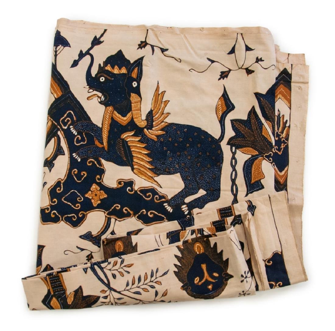 JAVANESE TEXTILE OF LIONS AND ELEPHANTS