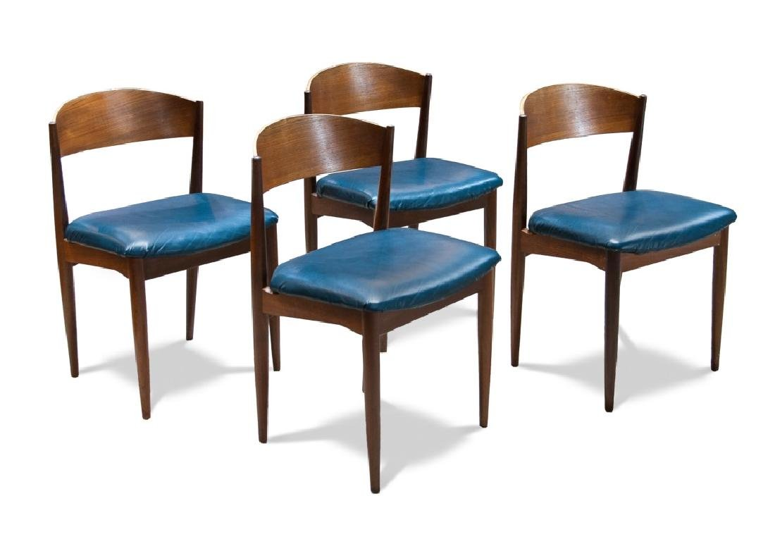 SET OF FOUR BLUE LEATHER CHAIRS