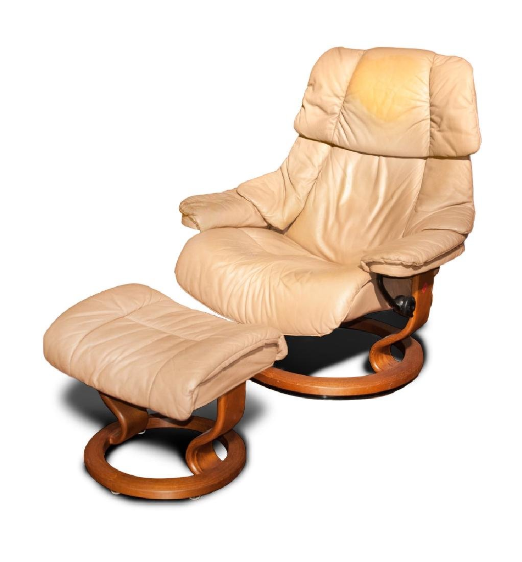 LEATHER AND WOOD RECLINER WITH OTTOMAN