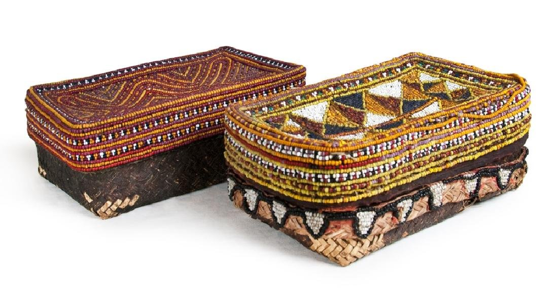 INDIAN PAIR OF WOVEN BEADED BASKETS
