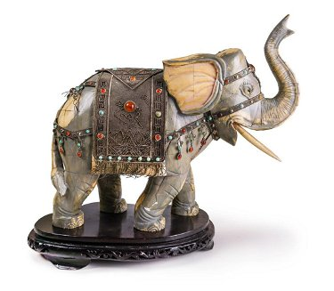 For Auction Carved Bone Painted Jeweled Elephant 0222 On Apr 10 2020 Steven S Art Antiques In Ca