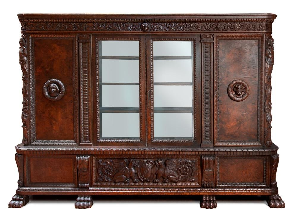 GERMAN RENAISSANCE STYLE BOOKCASE (WITH KEY)