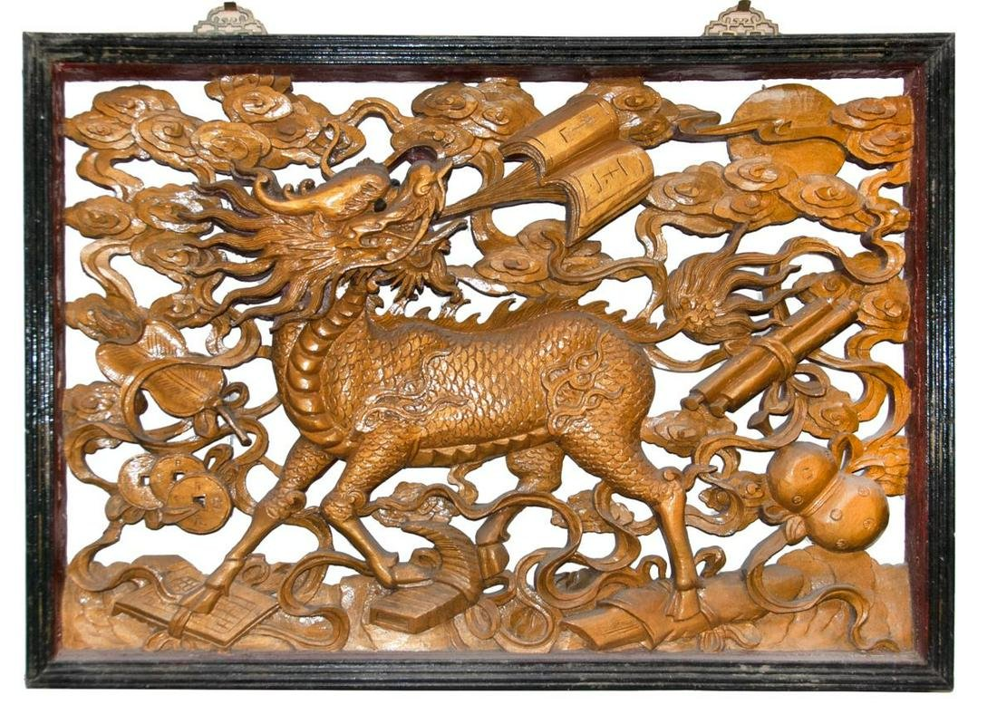 GILDED QILING WOOD CARVED WALL HANGING