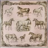 HERMES FRAMED HORSE SCARF