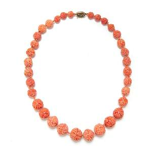 CHINESE CARVED CORAL BEADS NECKLACE