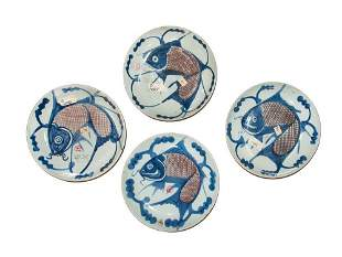 GROUP OF FOUR IMARI FISH DISHES