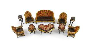 SET OF CHINESE DOLL HOUSE LIVING ROOM SEATING