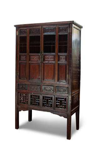 TALL CHINESE WOOD CABINET
