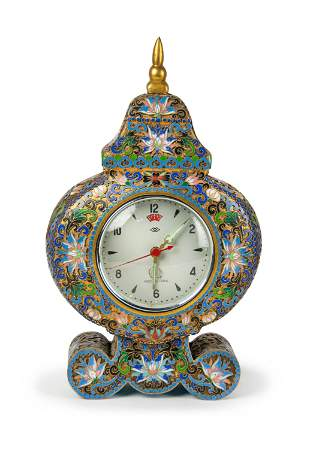 CHINESE CHAMPLEVE DECORATED CLOCK