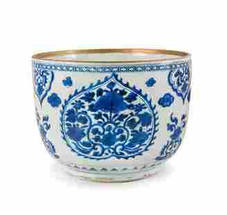 BLUE AND WHITE DEEP PORCELAIN BOWL