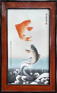 FRAMED PORCELAIN PLAQUE OF KOI FISH