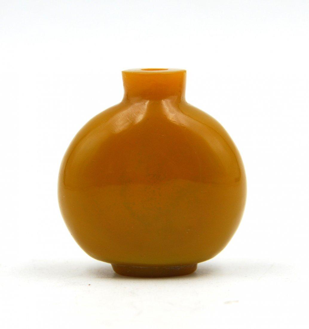 MUSTARD YELLOW GLASS SNUFF BOTTLE