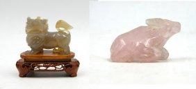 Rose Quartz Ox And Agate Lion