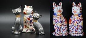 A Set Of Three Cats, Pair Of Imari Cats