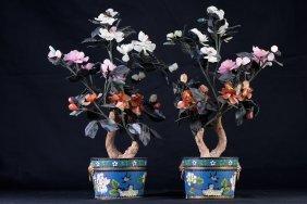 Pair Of Enameled Pots With Jade Flowers