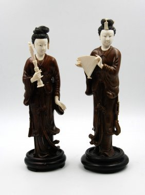 Pair Of Ivory Figurines