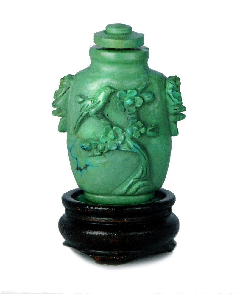 CARVED TUQUOISE SNUFF BOTTLE