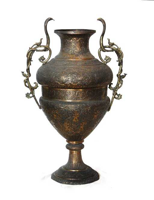 Large Brass Indian Vase With Cobra Handles
