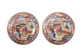 Pair Of Famille Rose Porcelain Plate