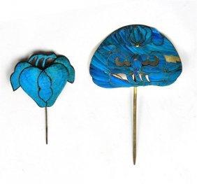 Blue Feather Hair Pins