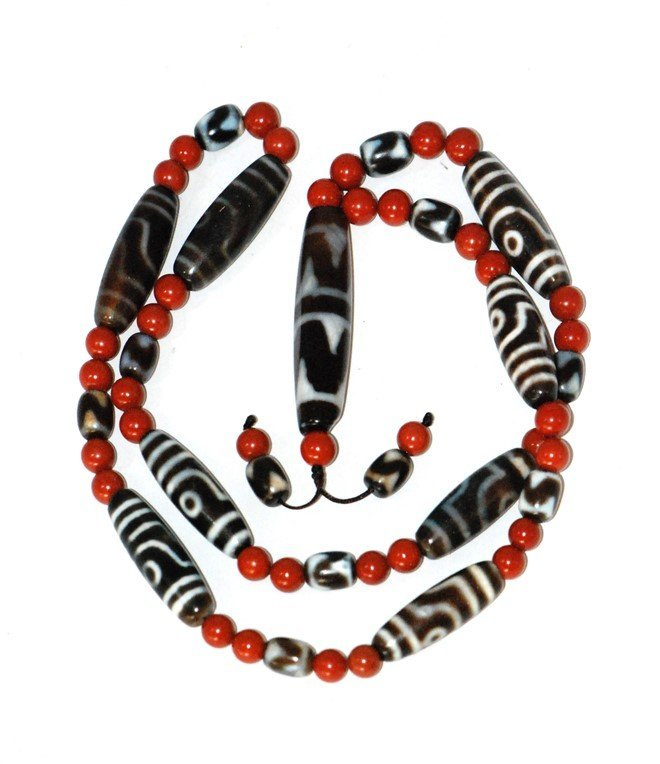 DZI BEAD AND RED BEAD NECKLACE