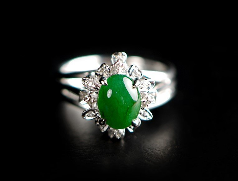 JADE SILVER TONED RING