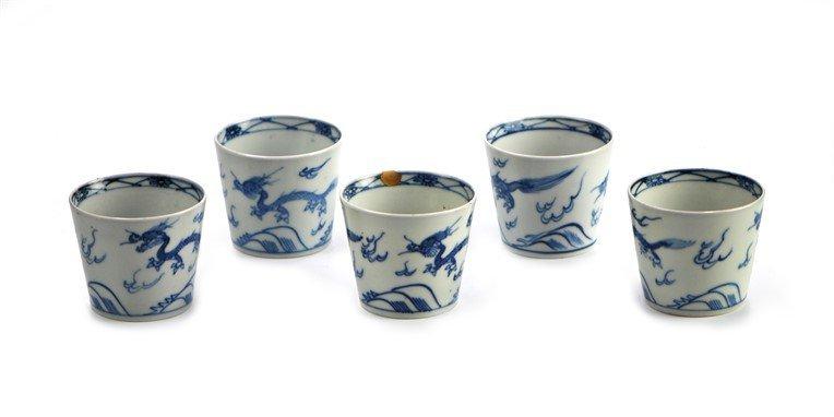 SET OF 5 JAPANESE BLUE AND WHITE DRAGON  RAMEKINS
