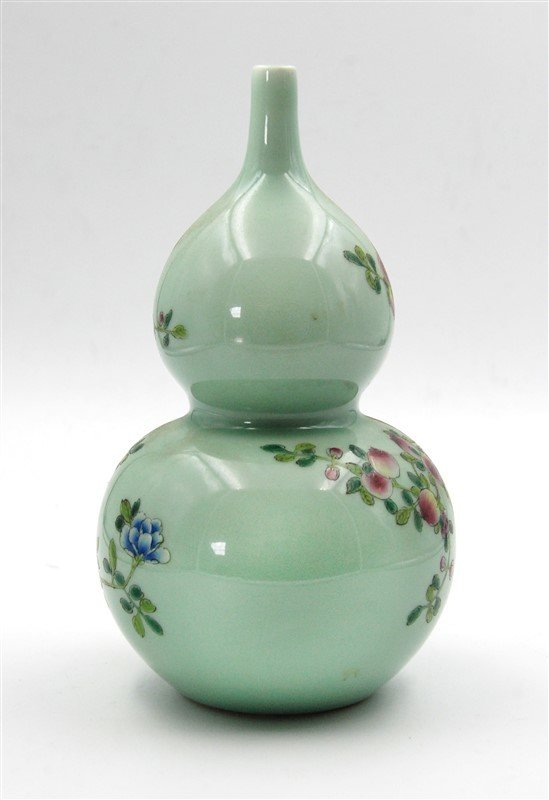 BIRDS AND FLOWERS DOUBLE GOURD VASE - 2