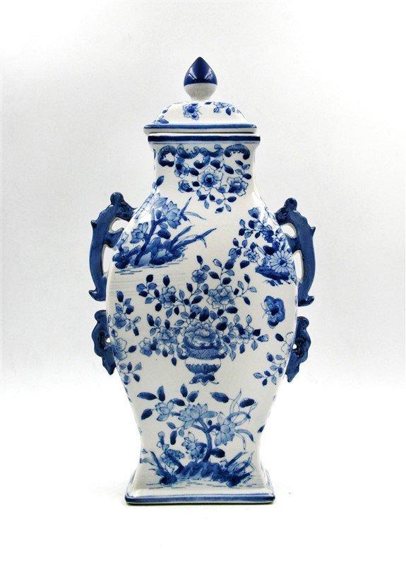 BLUE AND WHITE HANDLED FLOWERS VASE
