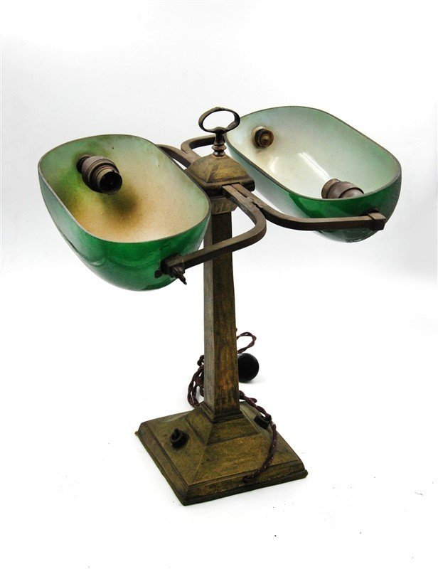 DOUBLE SHADE GREEN BANKERS LAMP - 2