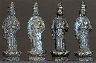FOUR BUDDHAS,18/19th Century Japan,Bronze