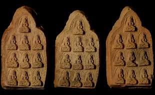 Three Tibetan clay tablets with 10 Bodhisattvas each.
