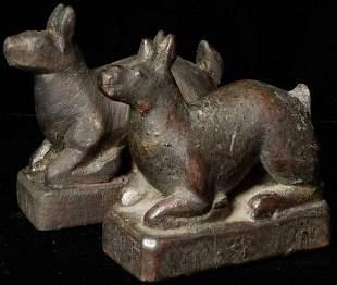 Antique Mongolian deer altar set.