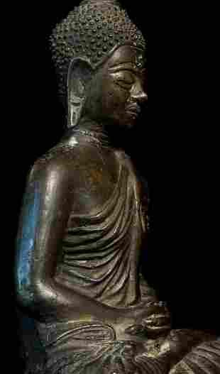 Circa 1900 Thai Bronze Buddha.