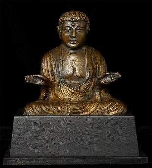 13thC Kamakura Era Solid Cast Japanese  Buddha