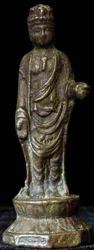 18/19thC or earlier miniature Korean Bronze Buddha.