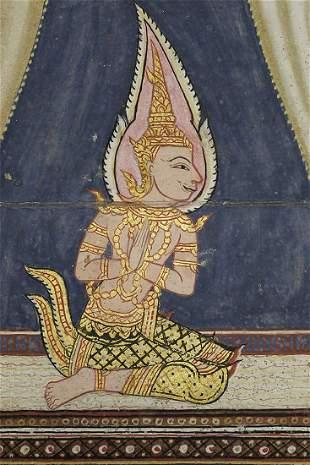 "Set of 3  original antique Thai ""bible"" paintings--"